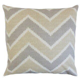 Hoku Zigzag 22-inch Down Feather Throw Pillow Jute