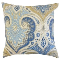 Kirrily Damask 22-inch Down Feather Throw Pillow Delta