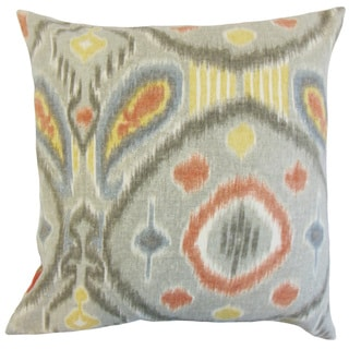 """Janvier Ikat 22"""" x 22"""" Down Feather Throw Pillow Mineral"""