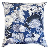 "Dariela Floral 22"" x 22"" Down Feather Throw Pillow Navy"