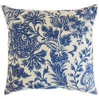 Bionda Floral 22-inch Down Feather Throw Pillow Blue