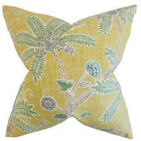 Mead Floral 22-inch Down Feather Throw Pillow Amber