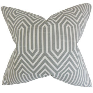 Jinan Geometric 22-inch Down Feather Throw Pillow Ash