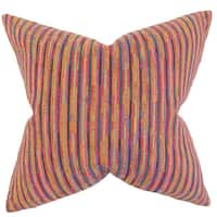 Qiturah Stripes 22-inch Down Feather Throw Pillow Pink