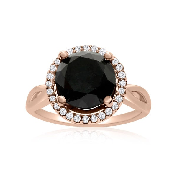 4 3/4 Carat Black and White Diamond Halo Ring In 14K Rose Gold (G-H, I1-I2)