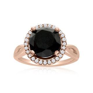4 3/4 Carat Black and White Diamond Halo Ring In 14K Rose Gold (G-H, I1-I2)