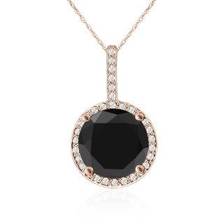 4 1/4 Carat Black and White Diamond Halo Necklace In 14K Rose Gold (G-H, I1-I2)