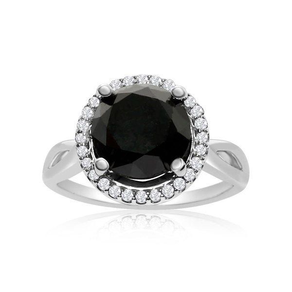 4 3/4 Carat Black and White Diamond Halo Ring In 14K White Gold (G-H, I1-I2)