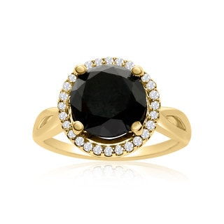 4 3/4 Carat Black and White Diamond Halo Ring In 14K Yellow Gold (G-H, I1-I2)