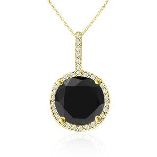 4 1/4 Carat Black and White Diamond Halo Necklace In 14K Yellow Gold (G-H, I1-I2)