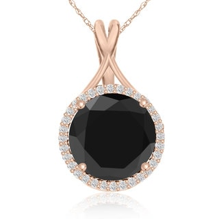 5 Carat Black and White Diamond Halo Necklace In 14K Rose Gold (G-H, I1-I2)