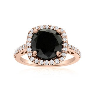 4 1/2 Carat Cushion Cut Black and White Diamond Halo Ring In 14K Rose Gold (G-H, I1-I2)