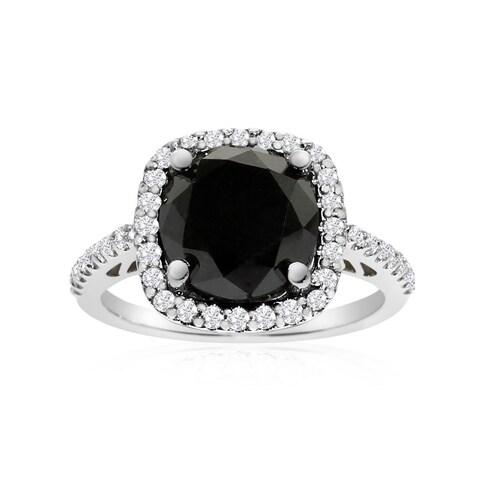 4 1/2 Carat Cushion Cut Black and White Diamond Halo Ring In 14K White Gold (G-H, I1-I2)