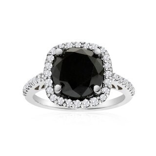 4 1/2 Carat Cushion Cut Black and White Diamond Halo Ring In 14K White Gold (G-H, I1-I2)