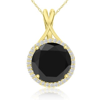 5 Carat Black and White Diamond Halo Necklace In 14K Yellow Gold (G-H, I1-I2)
