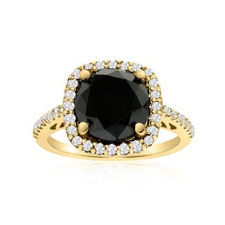 4 1/2 Carat Cushion Cut Black and White Diamond Halo Ring In 14K Yellow Gold (G-H, I1-I2)