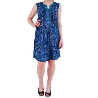 La Cera Women's Sleeveless Print Dress with Contrast Trim