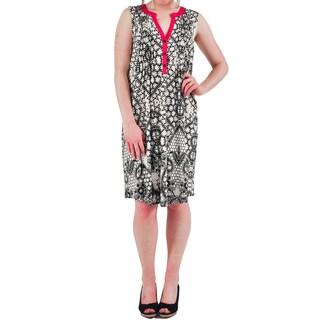 La Cera Women's Pink/Black Print Sleeveless Contrast-trim Dress