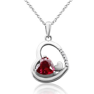 1 1/2 TGW Heart-Shaped Created Ruby, Rose Gold Heart and Diamond Halo Necklace In Sterling Silver, 1