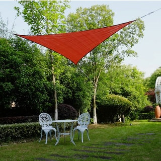 Cool Area Triangle 11 Feet 5 Inches Durable Sun Shade Sail with Stainless Steel Hardware Kit, UV Block Shade Sail in Color Terra