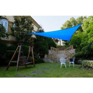 Cool Area Triangle 11 Feet 5 Inches Sun Shade Sail, UV Block Fabric Sail Perfect for Outdoor Patio Gardenin Color Blue