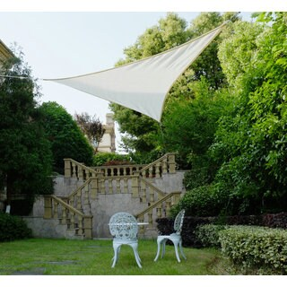 Cool Area Triangle 11 Feet 5 Inches Sun Shade Sail, UV Block Fabric Sail Perfect for Outdoor Patio Gardenin Color Cream