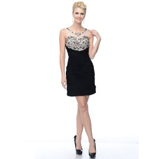 DFI Women's Short Gown with Ruching and Adorned Sweetheart Neckline