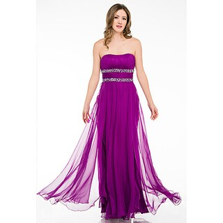 DFI Women's Strapless Layered Prom Dress