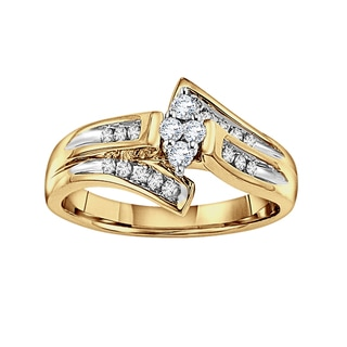 Cambridge Two-tone 10kt Gold 1/ 4ct TDW Diamond Cluster Engagement Ring