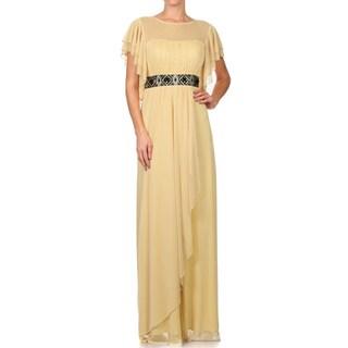 DFI Flutter-sleeved Empire Waist Style Long Evening Gown