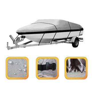 600D Heavy Duty 20ft to 22ft Trailable Boat Cover V-Hull 100 inch Beam Grey