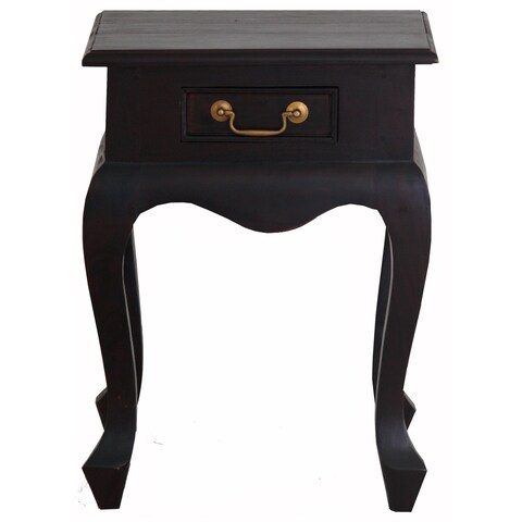Handmade NES Fine Furniture Solid Mahogany Wood Queen Anne Lamp Table - 24 inches (Indonesia)