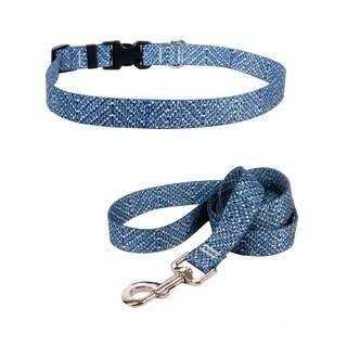 Yellow Dog Design Blue Tweed Standard Collar & Lead Set