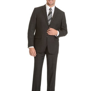 Prontomoda Men's Super 140's Merino Charcoal Stripe Slim Suit