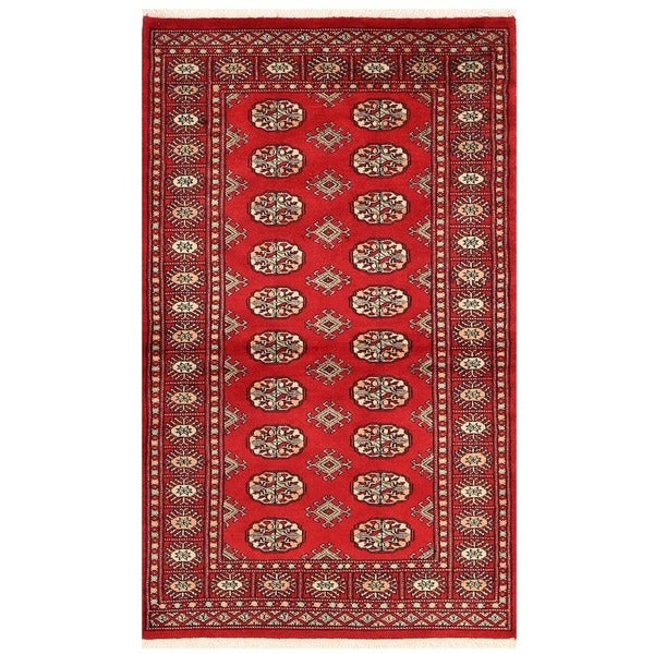 Persian Bokhara Hand Knotted Wool Area Rug: Herat Oriental Pakistani Hand-knotted Bokhara Wool Rug (3