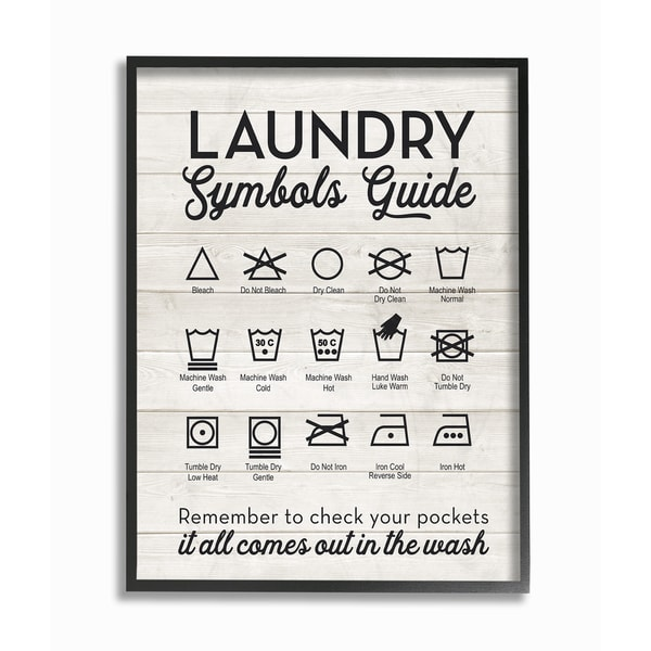 Shop Laundry Symbols Guide Typography Framed Giclee Texturized Art