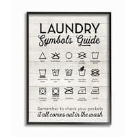 Laundry Symbols Guide Typography  Framed Giclee Texturized Art