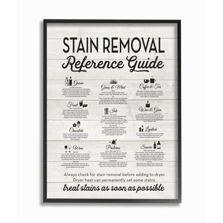 Stain Removal Reference Guide Typography Framed Giclee Texturized Art