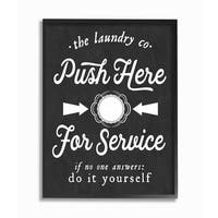 Push Here For Service Humor Laundry  Framed Giclee Texturized Art
