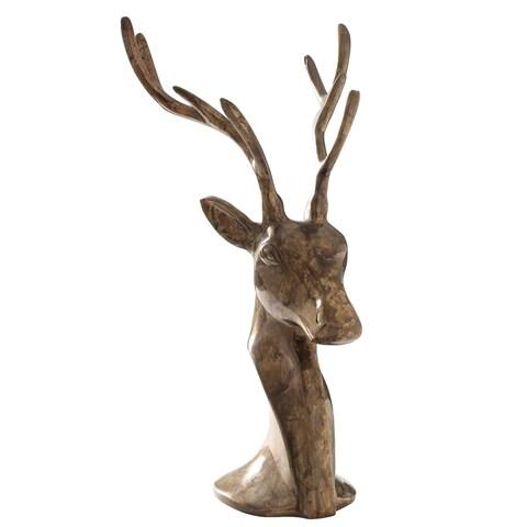Freestanding Stylized Reindeer Sculture ROAR. Antique Brass color