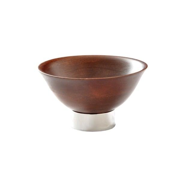 Elegant Wood Bowl KIRU with Modern Nickel Footing
