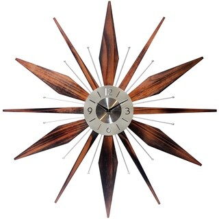Infinity Instruments Utopia Wood Aluminum 30-inch Starburst Wall Clock