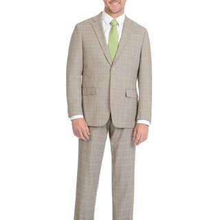 Prontomoda Men's Super 140's Merino Tan Plaid Slim Suit
