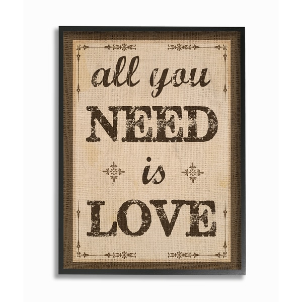 All You Need Is Love Framed Giclee Texturized Art