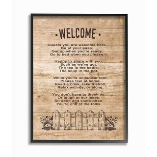 Guests Are Welcome Here Framed Giclee Texturized Art