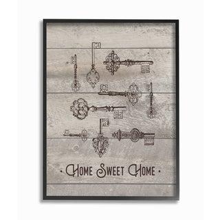 Home Sweet Home Vintage Keys Framed Giclee Texturized Art