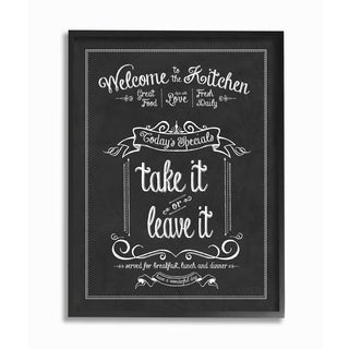 Welcome To the Kitchen Chalkboard Vintage Sign Framed Giclee Texturized Art