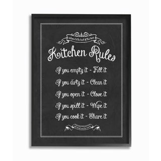 Kitchen Rules Chalkboard Vintage Sign Framed Giclee Texturized Art