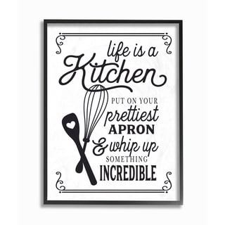 Life Is Like A Kitchen Vintage Typography Oversized Framed Giclee Texturized Art
