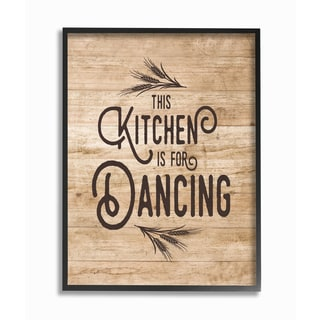 This Kitchen Is For Dancing Distressed Wood Typography Framed Giclee Texturized Art - Multi